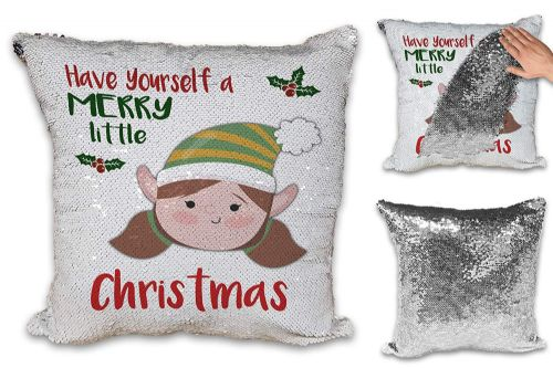 Merry Little Christmas Girl Elf Novelty Sequin Reveal Magic Cushion Cover